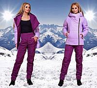 """Женский стильный лыжный костюм на синтепоне с капюшоном 1085 """"Плащёвка Косуха Контраст"""" в расцветках"""