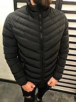 Куртка мужская черного цвета с воротником стойка и рукавами на резинке стеганая