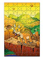 """Детский пазл """"Динозавр Трицератопс""""  формата А4  (120 элементов)"""