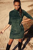 Пушистое платье зеленого цвета  S-M L-XL