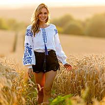 Белая женская рубашка вышиванка Жарптица с синей вышивкой, фото 2