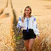 Белая женская рубашка вышиванка Жарптица с синей вышивкой, фото 4