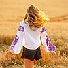 Біла жіноча вишиванка Жарптиця з малиновою вишивкою, фото 6