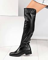Ботфорты женские высокие кожаные черные