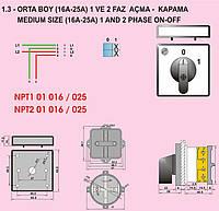 Кулачковый переключатель 1-полюсный ON-OFF 1х16А