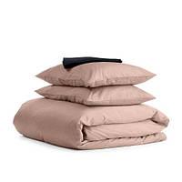 Комплект двуспального постельного белья сатин BEIGE BLACK-S