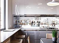 Кухонный фартук Cafe Paris (скинали, Париж, силуэты, улицы города, кофе, фотопечать, пленка самоклеющаяся) 600*2500 мм