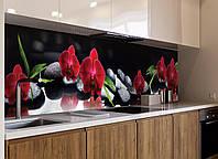 Кухонный фартук Алая Орхидея (черные камни, орхидеи, темный, наклейка на стеновую панель кухни, цветы) 600*2500 мм
