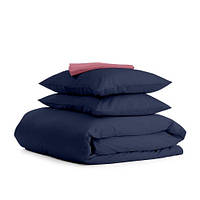 Комплект двуспального постельного белья сатин DARK BLUE PUDRA-S
