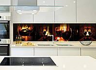 Кухонный фартук Бокалы (стаканы, вино, огонь, очаг, виниловые наклейки, фотопечать для кухни пленка для кухни) 600*2500 мм