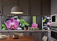 Кухонный фартук Гармония (виниловая наклейка на кухонную панель орхидеи черные камни бамбук) 600*2500 мм, фото 1