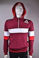 """Батник спортивный мужской с капюшоном """"Reebok"""" размеры норма 46-52 бордо с белым"""