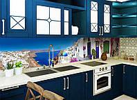 Кухонный фартук Завораживающая Греция (скинали из пленки для кухни виниловые наклейки синее море белые дома) 600*2500 мм, фото 1