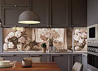 Кухонный фартук Картина (наклейки для стеновых панелей, винтаж, пионы, розы, букеты, черно-белый) 650*2500 мм