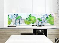 Кухонный фартук Лайм (цитрусы лед лаймы, пленка для кухонной поверхности, виниловые наклейки для кухни декор) 600*2500 мм
