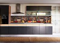Кухонный фартук Натюрморт 01 (полноцветная фотопечать наклейка на стеновую панель для кухни вино, арбуз осень) 600*2500 мм