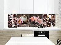 Кухонный фартук Орхидея и сладости (фотопечать, кофе, пленка самоклеющаяся) 600*2500 мм