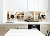 Кухонный фартук Охра (скинали коллаж камни песок цветы вишни фотопечать, декор для кухни пленка самоклеющаяся) 600*2500 мм