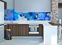 Кухонный фартук Полевой колокольчик (полевые цветы, одуванчик скинали, пленка для кухни, декор фартука) 600*2500 мм