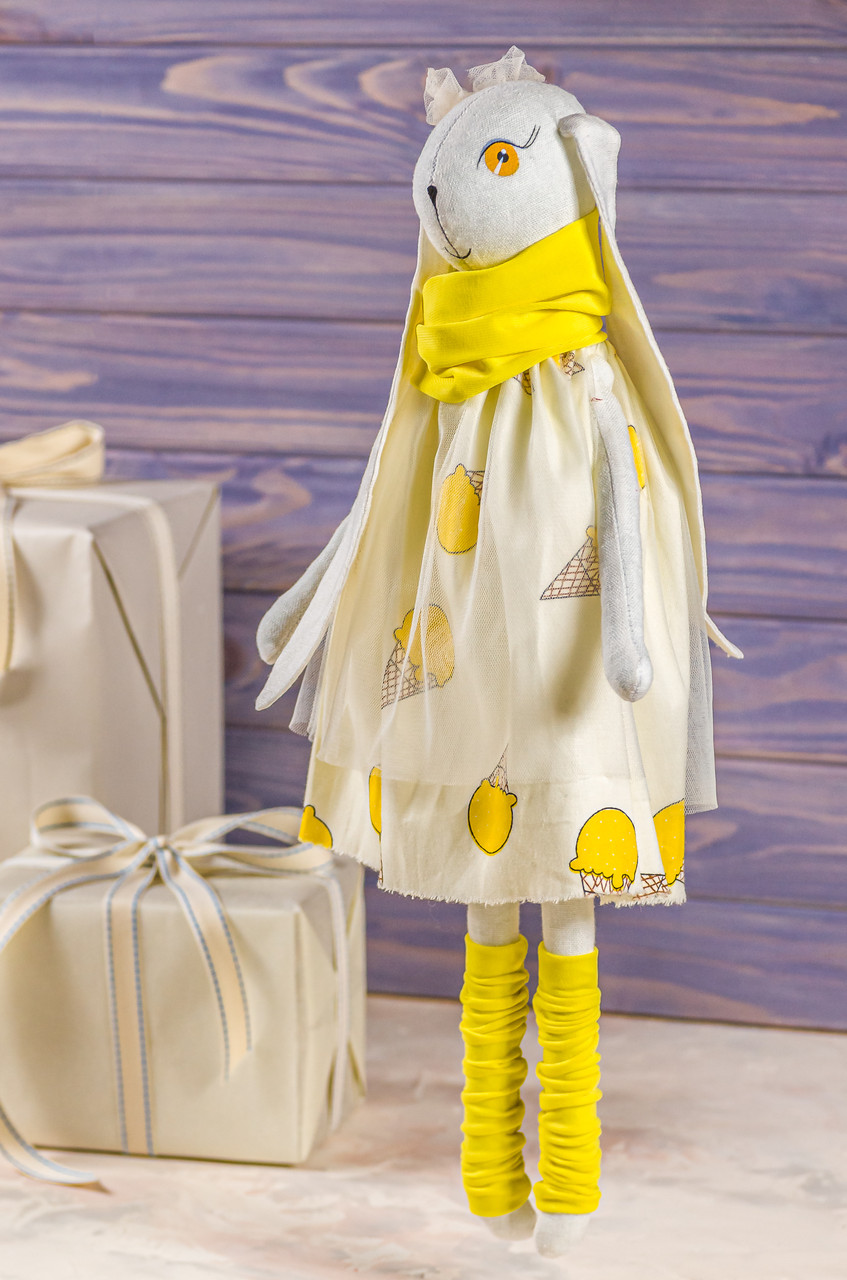 """Мягкая игрушка ручная работа зайка желтый текстиль 43 см """"зая-мрійниця"""" одежда снимается"""