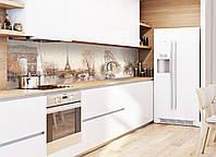 Кухонный фартук Ретро (фотопечать наклейки скинали пленка для стеновых панелей, Франция Эйфелева башня Париж) 600*2500 мм