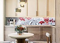Кухонный фартук Рябина и лед (3Д виниловые наклейки на кухню, фотопечать скинали красные ягоды кубики льда) 600*2500 мм