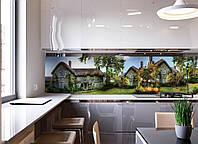 Кухонный фартук Сказочный домик (виниловые наклейки для кухни фотопечать на пленке Англия сельский пейзаж)