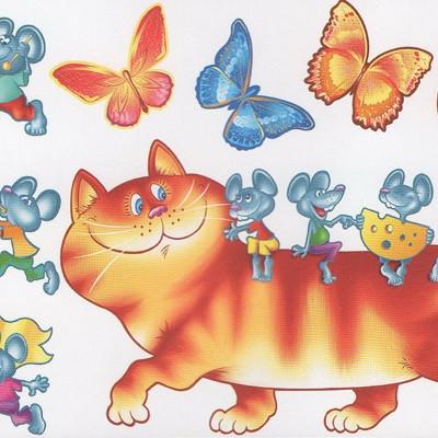 Наклейка, бабочки, кот,  интерьерная, Декор №5