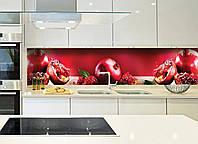 Кухонный фартук Спелый гранат (фотопечать, фрукты, красный фартук, гранаты, зерна граната, пленка для кухни) 600*2500 мм