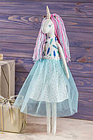 Мягкая игрушка ручная работа единорог мрійниця текстиль 43 см синий одежда снимается подарок девочке, фото 1