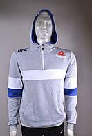 """Батник спортивный мужской с капюшоном """"Reebok"""" размеры норма 46-52, серый с белым"""