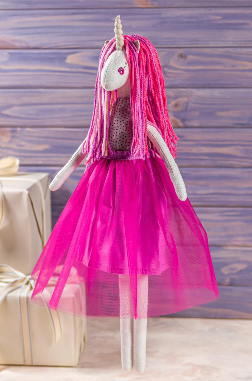 Мягкая игрушка ручная работа единорог мрійниця текстиль 43 см телемагента одежда снимается подарок девочке