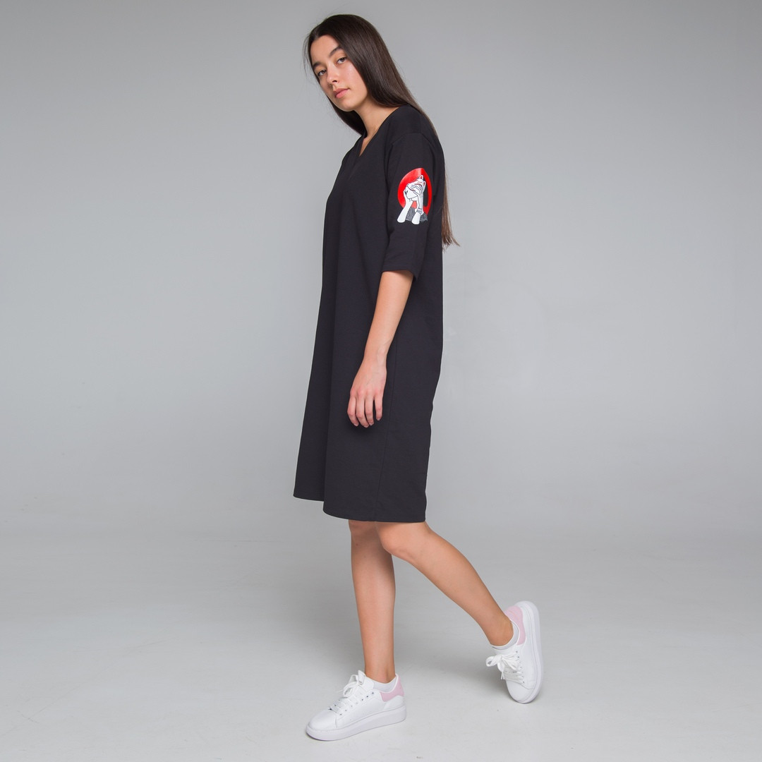 Платье-футболка женское черное бренд ТУР модель Хидеко (Hideko) размер XC, S, M, L