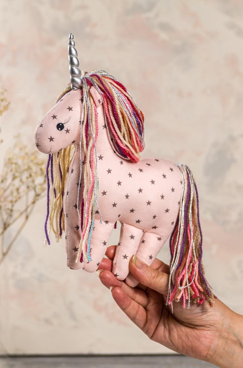 """Мягкая игрушка ручной работы единорог """"candy"""" 23 см светло розовый подарок девочке"""