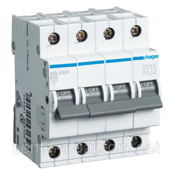 Автоматический выключатель 4 пол. 6А тип В 6КА МВ406А HAGER