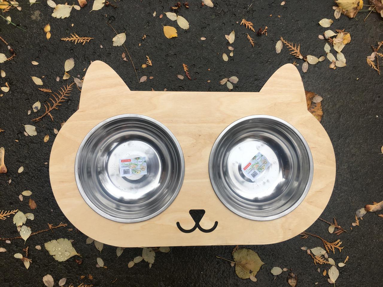 Подставка с двумя мисками для котика