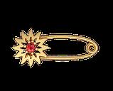 Шпилька срібна Квітка з каменем Бл_90022, фото 2