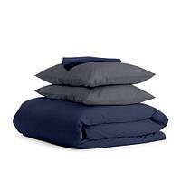 Комплект евро взрослого постельного белья сатин DARK BLUE GREY-P