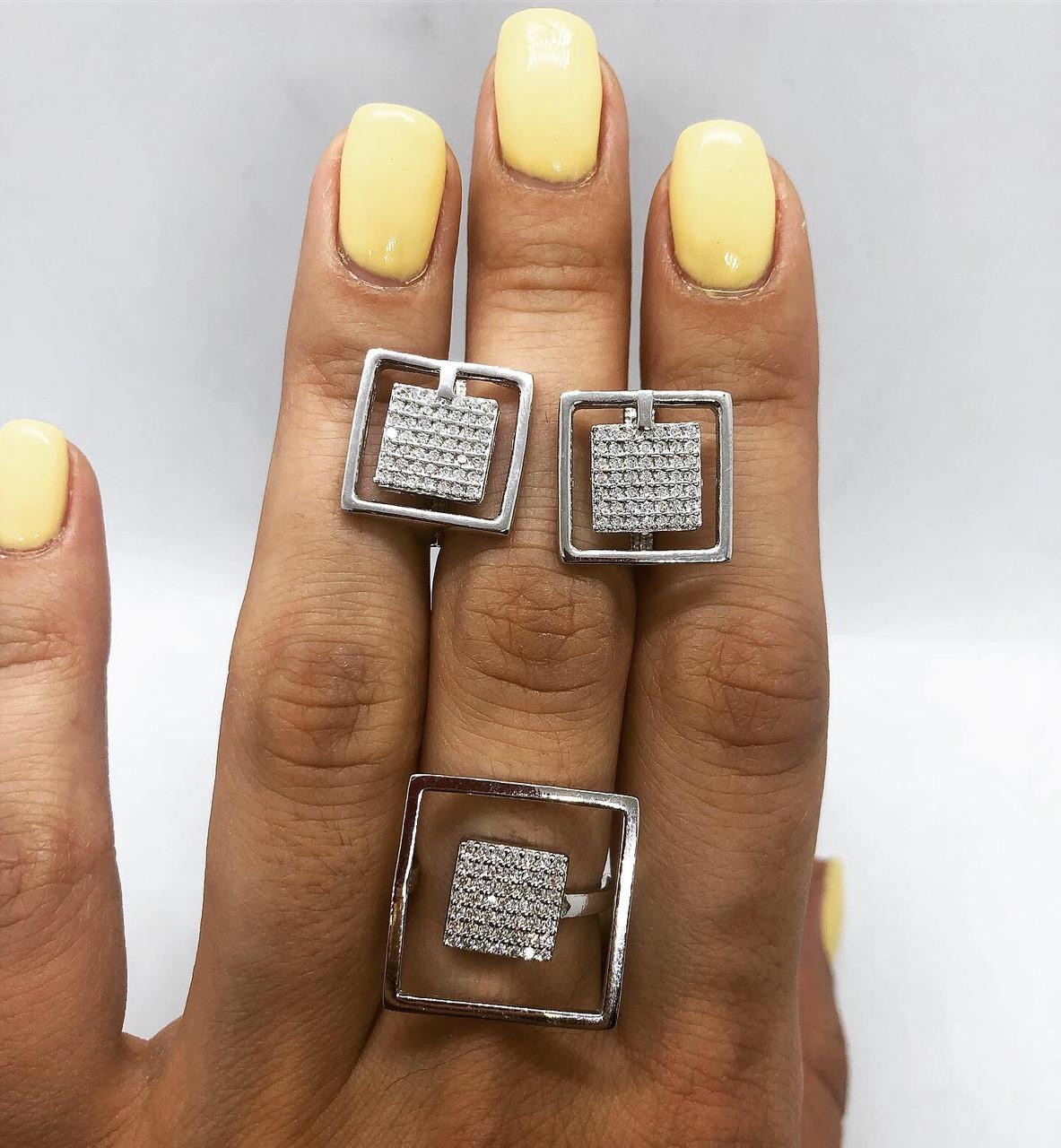 Набор украшений My Jewels из серебра 925 квадрат белый, камни Swarovski (размер 17-17,5), фото 1