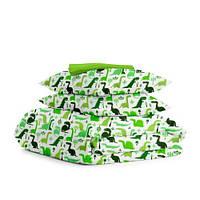 Комплект полуторного постельного белья DINO /зеленый горох/