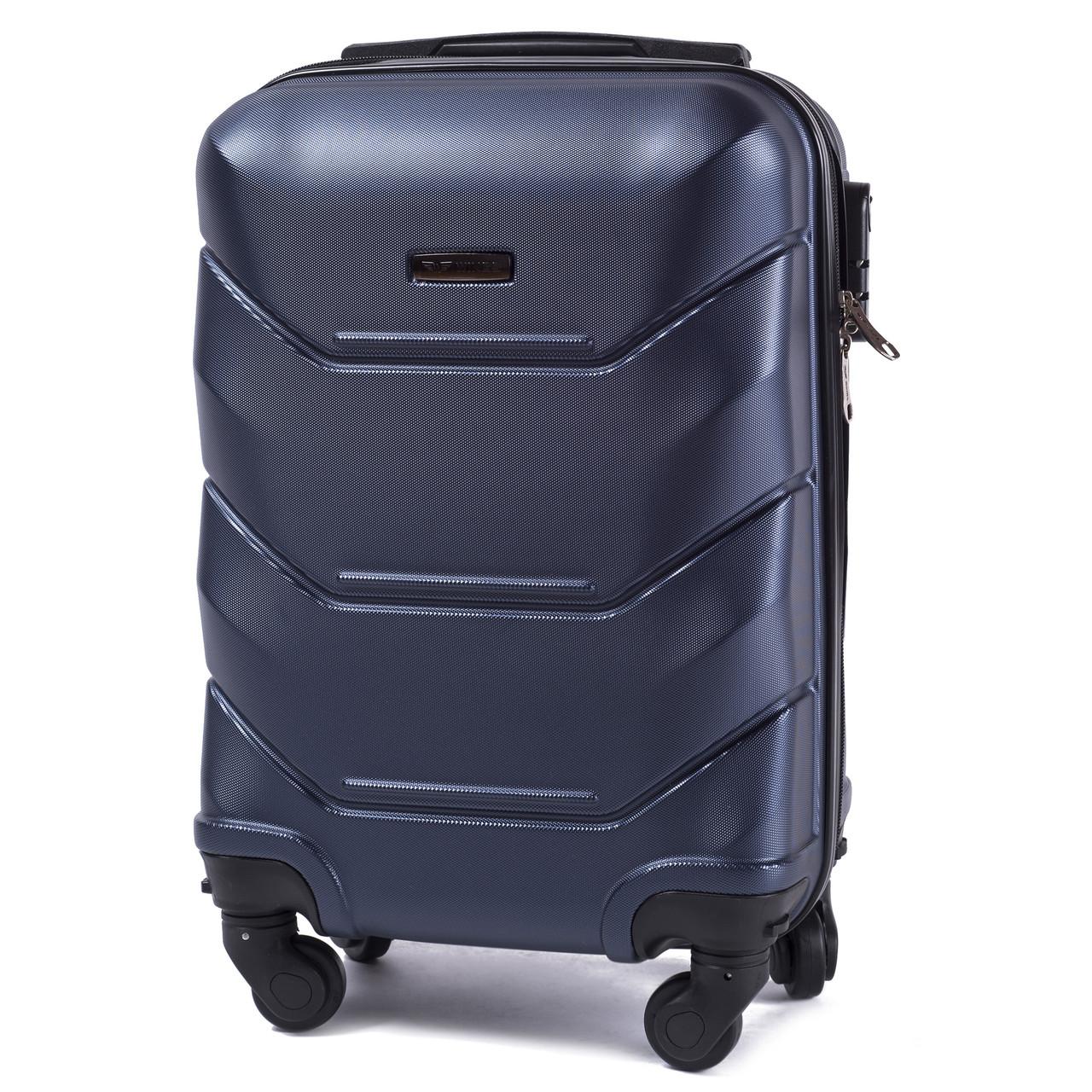 Чемодан пластиковый на 4 колесах Wings 147 Мини (XS) Ручная кладь Синий