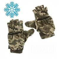 Зимние рукавицы-трансформеры флисовые в расцветке пиксель ММ-14, фото 1
