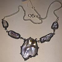 Жемчуг Бива ожерелье колье с жемчугом в серебре Индия