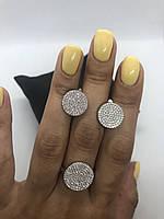 Набор украшений из серебра 925 (серьги и кольцо) My Jewels белые камни Swarovski (кольцо 17 размер)