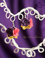 """Серьги с цветами """"Стильные розы"""""""