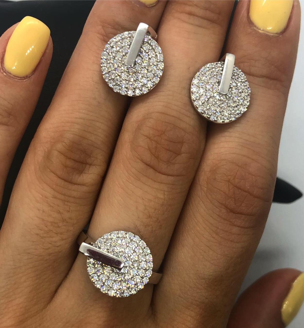 """Набор украшений из серебра 925 (серьги и кольцо """"линия"""") My Jewels белые камни Swarovski (кольцо 17 размер)"""