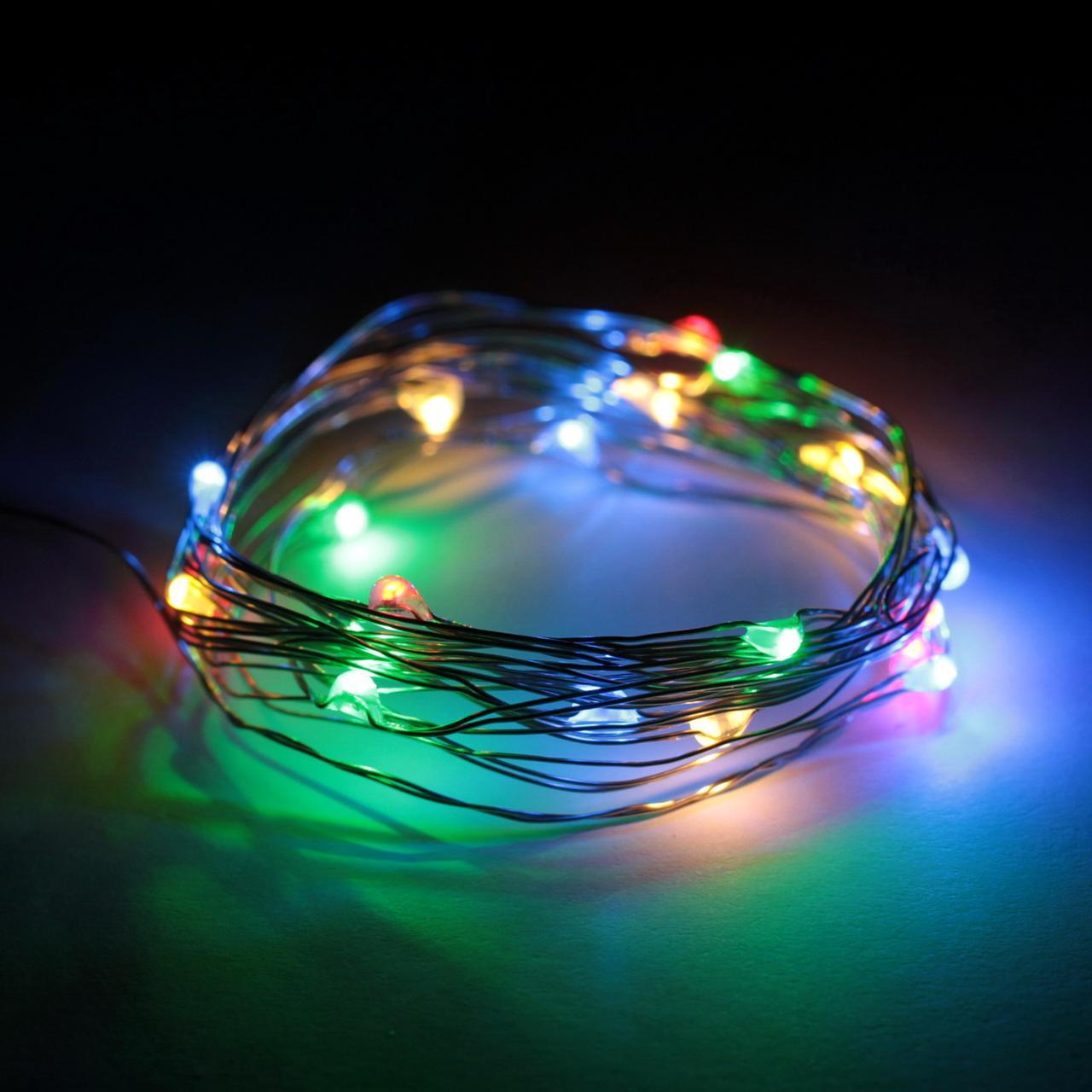 ✅Декоративная светодиодная гирлянда нить лед разноцветная на батарейках 2м 20led Multicolor
