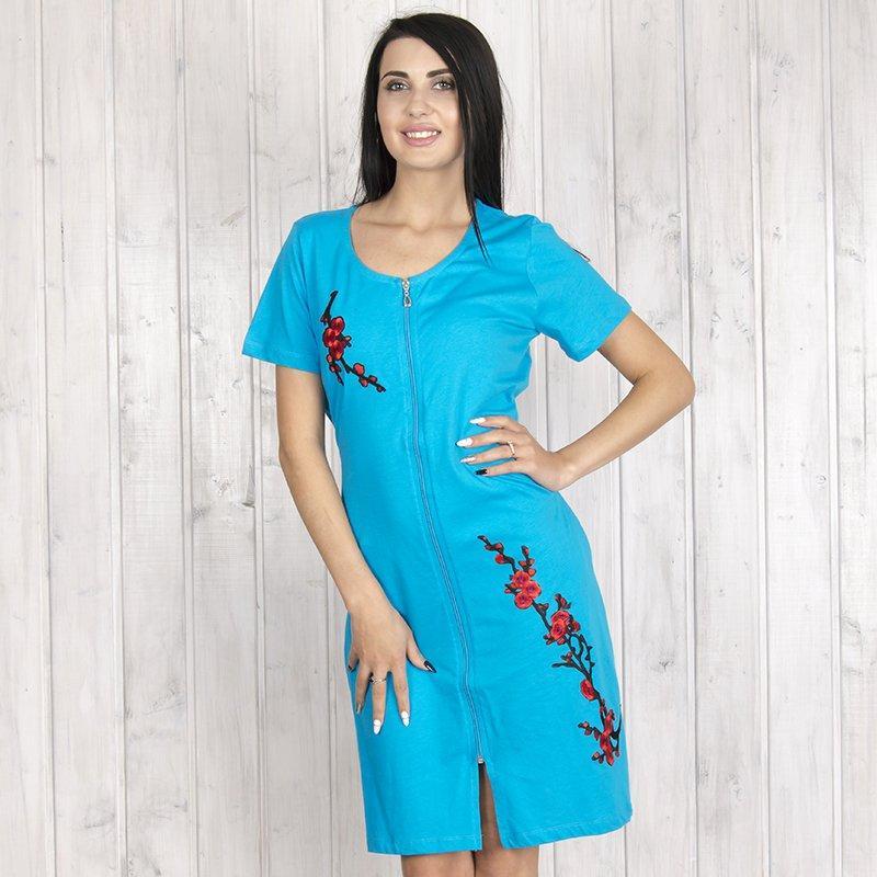 Халат женский на молнии с цветами батальный Intensive (Турция) intnsv18708bato