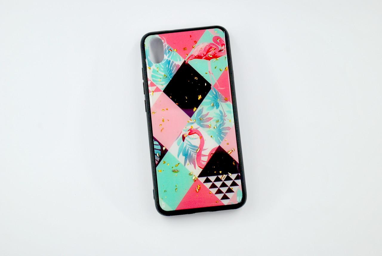 Чехол Xiaomi Redmi 7A Silicone Glass Marble Glitter (A17)