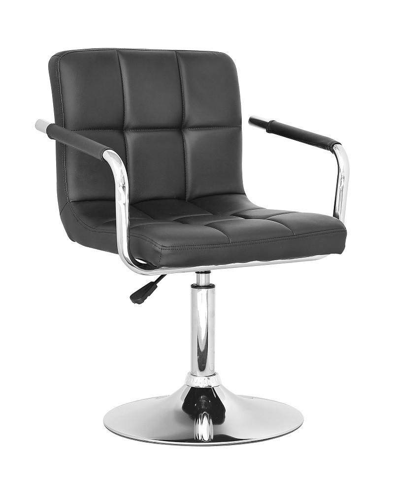 Кресло Артур черное на блине от SDM Group, экокожа